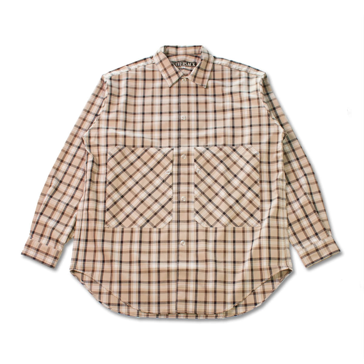 [HAVERSACK] GABARDINE CHECK REGULAR COLLAR SHIRT 'BEIGE'