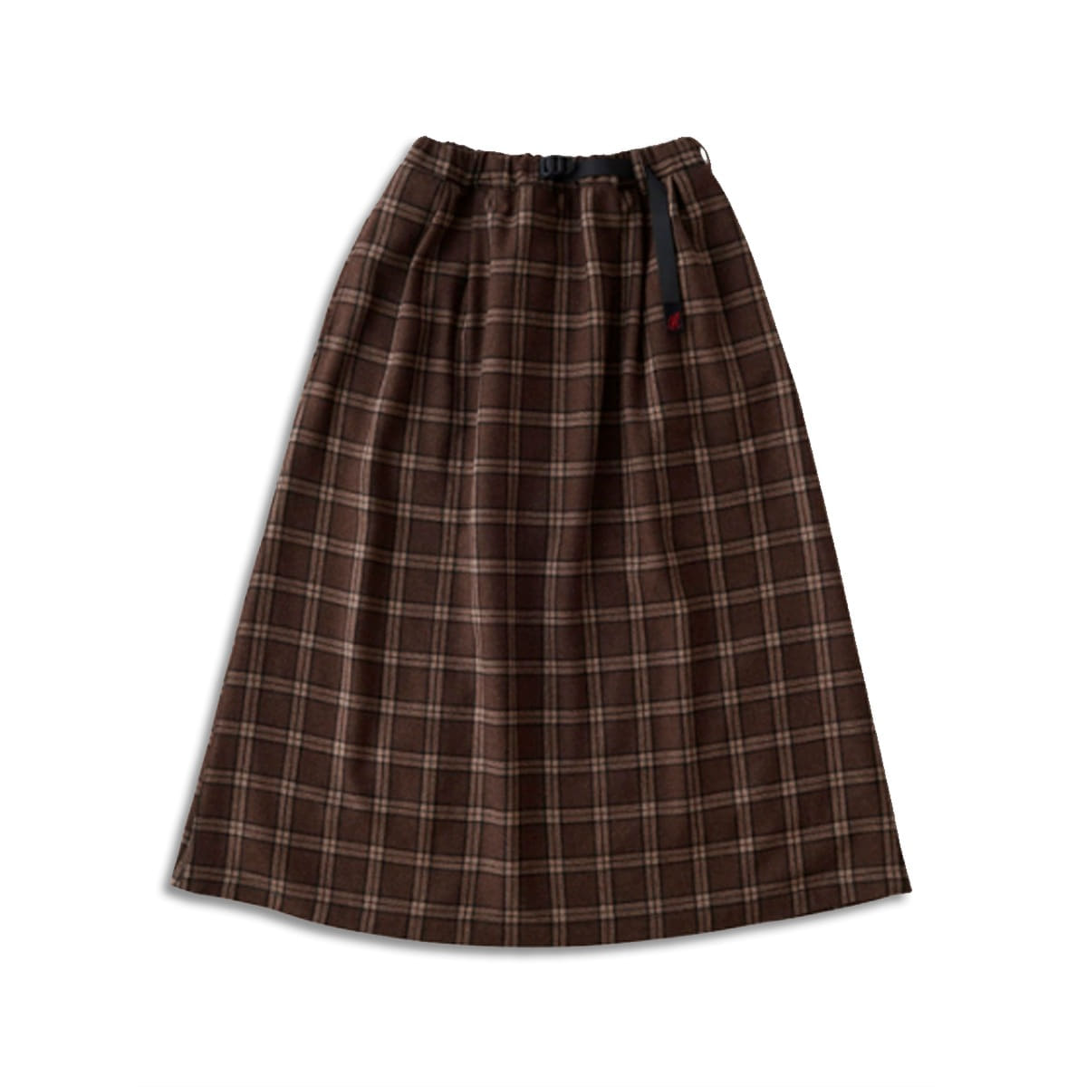 [GRAMICCI] WOOL BLEND LONG FLARE SKIRT 'BROWN CHECK'