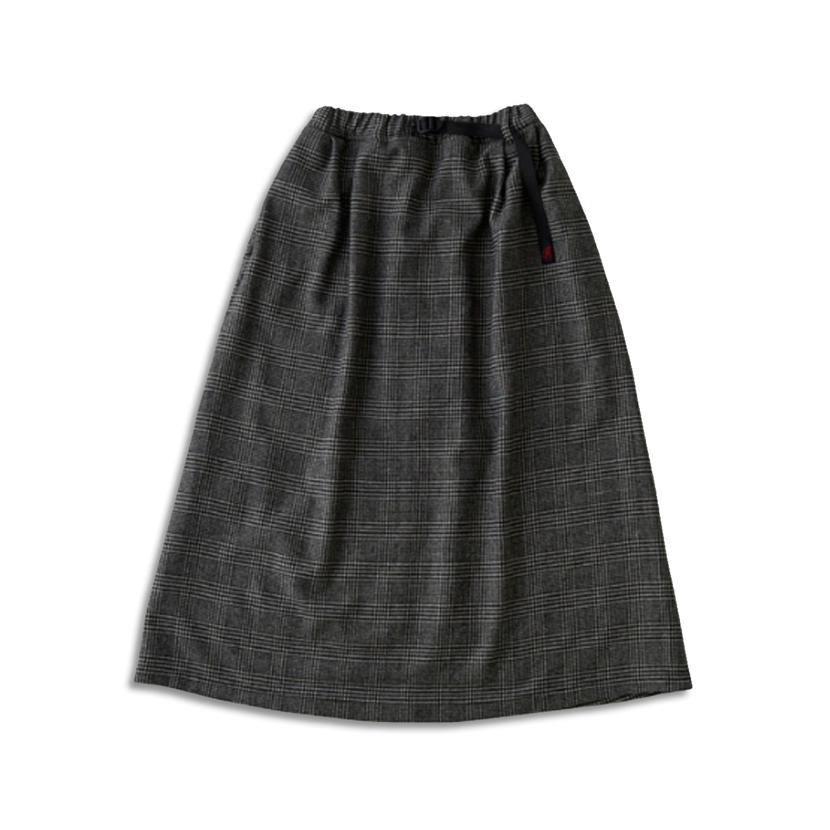 [GRAMICCI] WOOL BLEND LONG FLARE SKIRT 'HOUNDSTOOTH PATTERN'