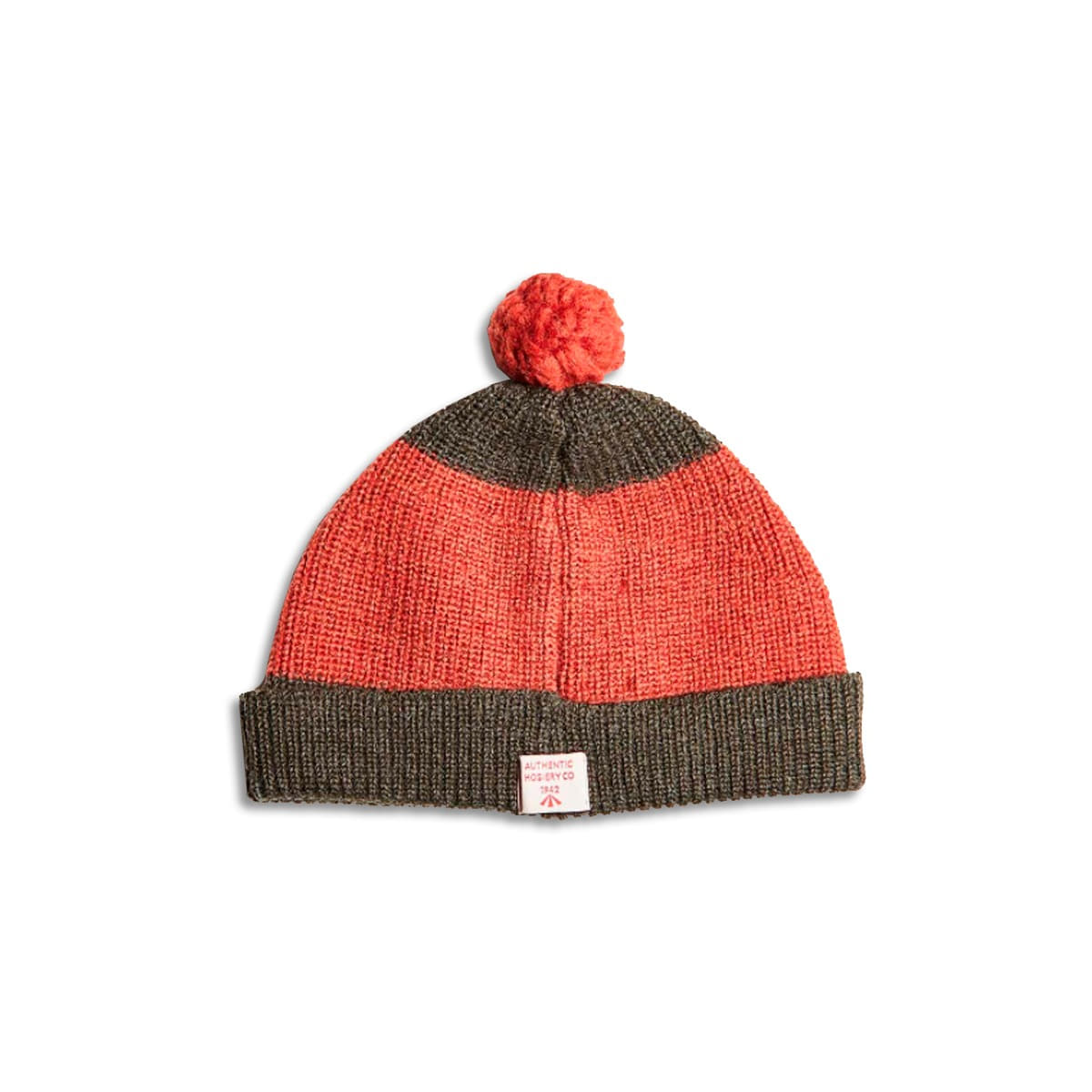 [NIGEL CABOURN] STRIPED POM POM BEANIE 'ORANGE & ARMY'