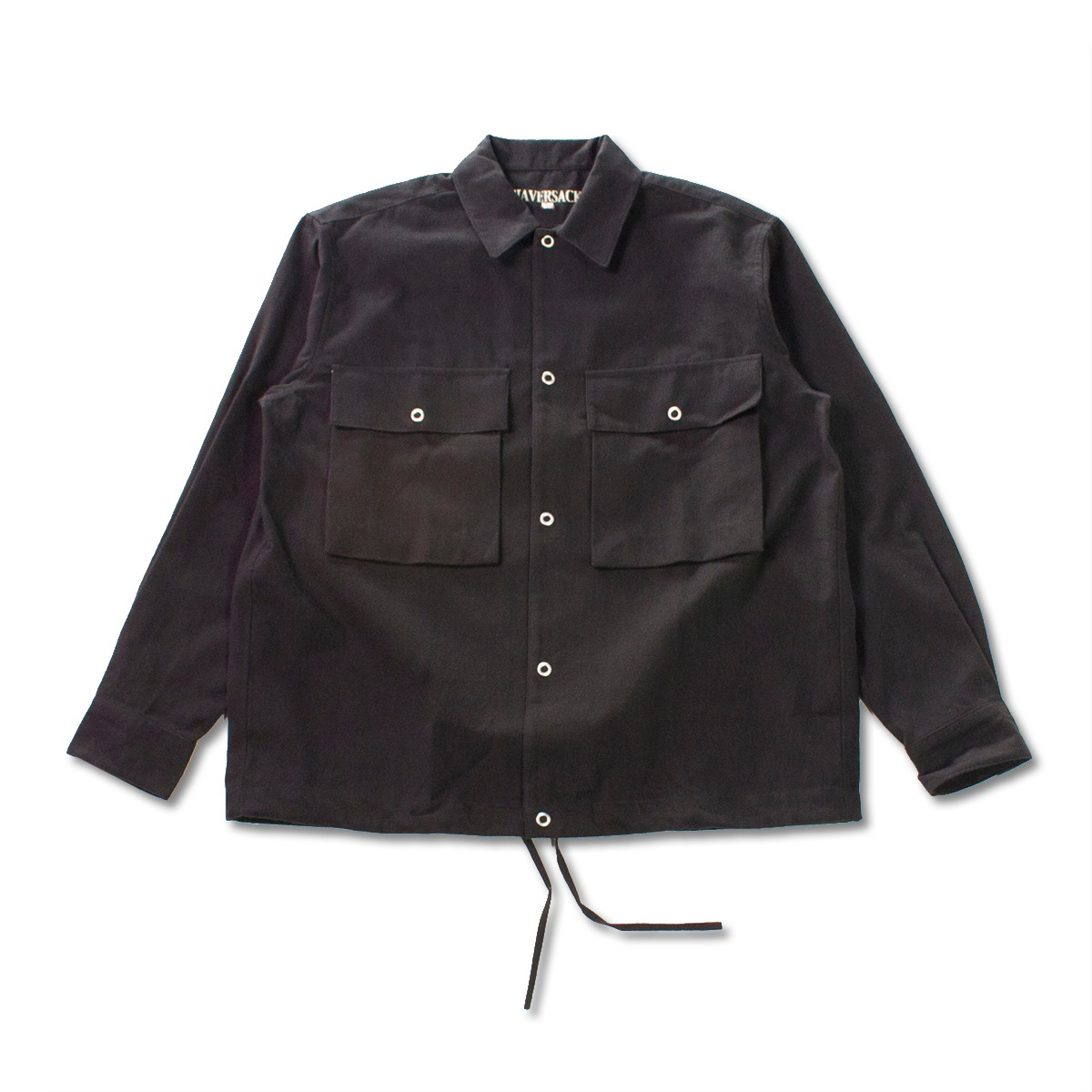[HAVERSACK] WOOL REGULAR COLLAR SHIRT 'BLACK'