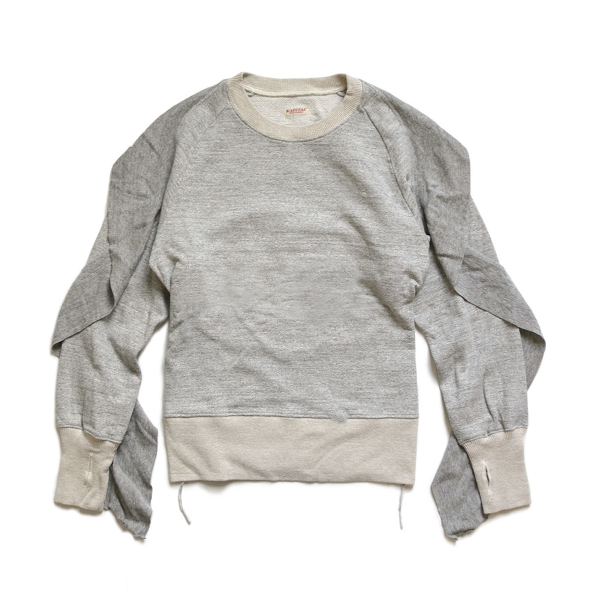 [KAPITAL] TOP FLEECE KNIT FRILLED SLEEVE BANDANA SWT 'GREY'