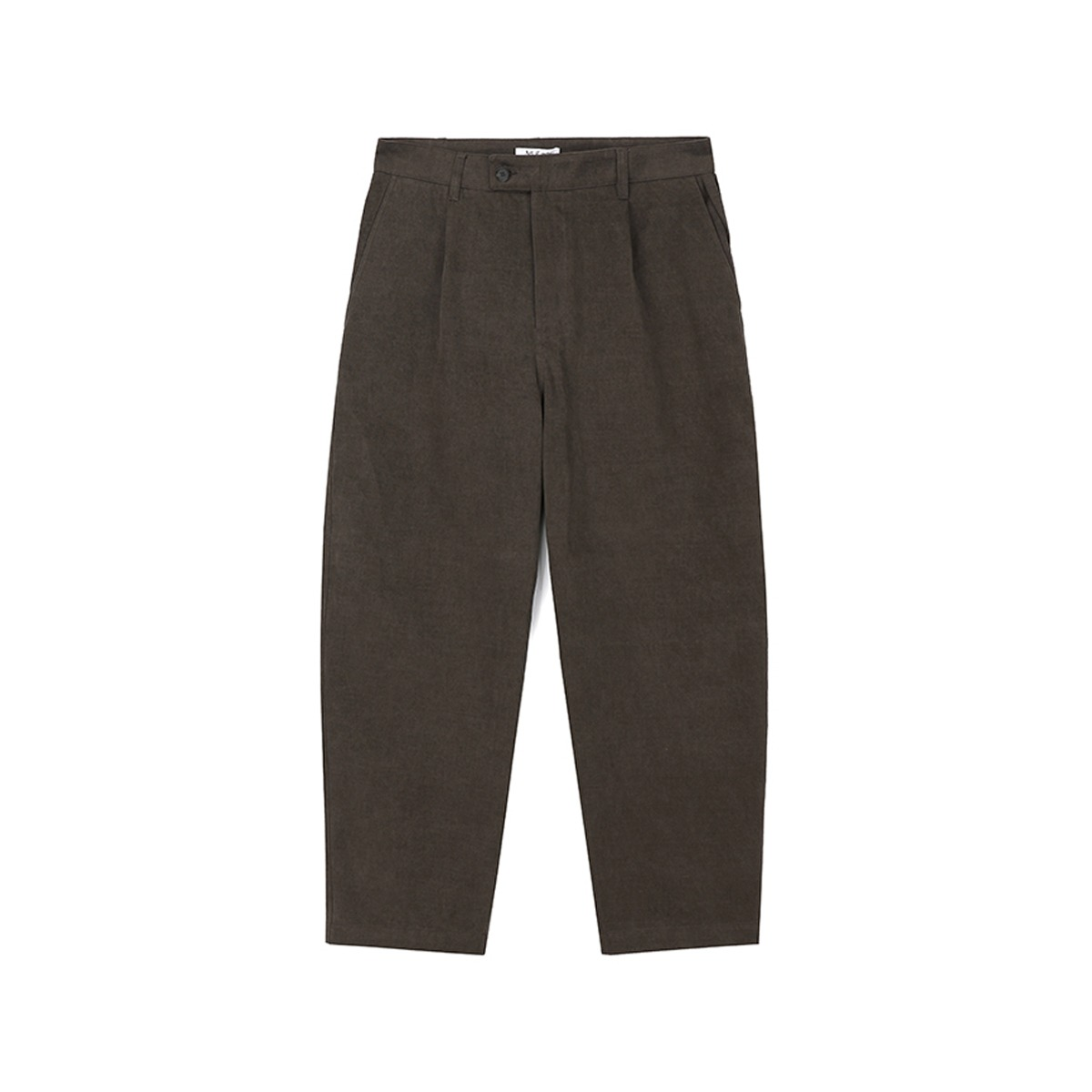 [ART IF ACTS] ONE TUCK CURVE PANT 'BROWN'