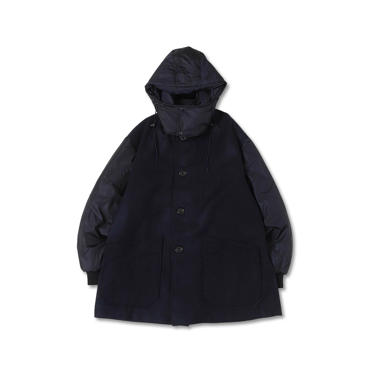 [ARPENTEUR] FUSION WOOL MELTON/NYLON LINED HOODED COAT 'NAVY'