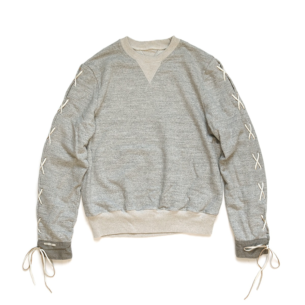 [KAPITAL] TOP FLEECE KNIT LACE-UP SLEEVE SWT 'GREY'
