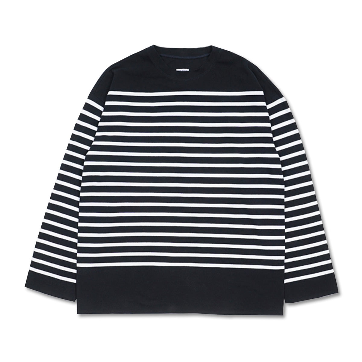 [ARPENTEUR] MARINE RACHEL COTTON MESH LONG SLEEVE T-SHIRT 'DARK NAVY/WHITE'