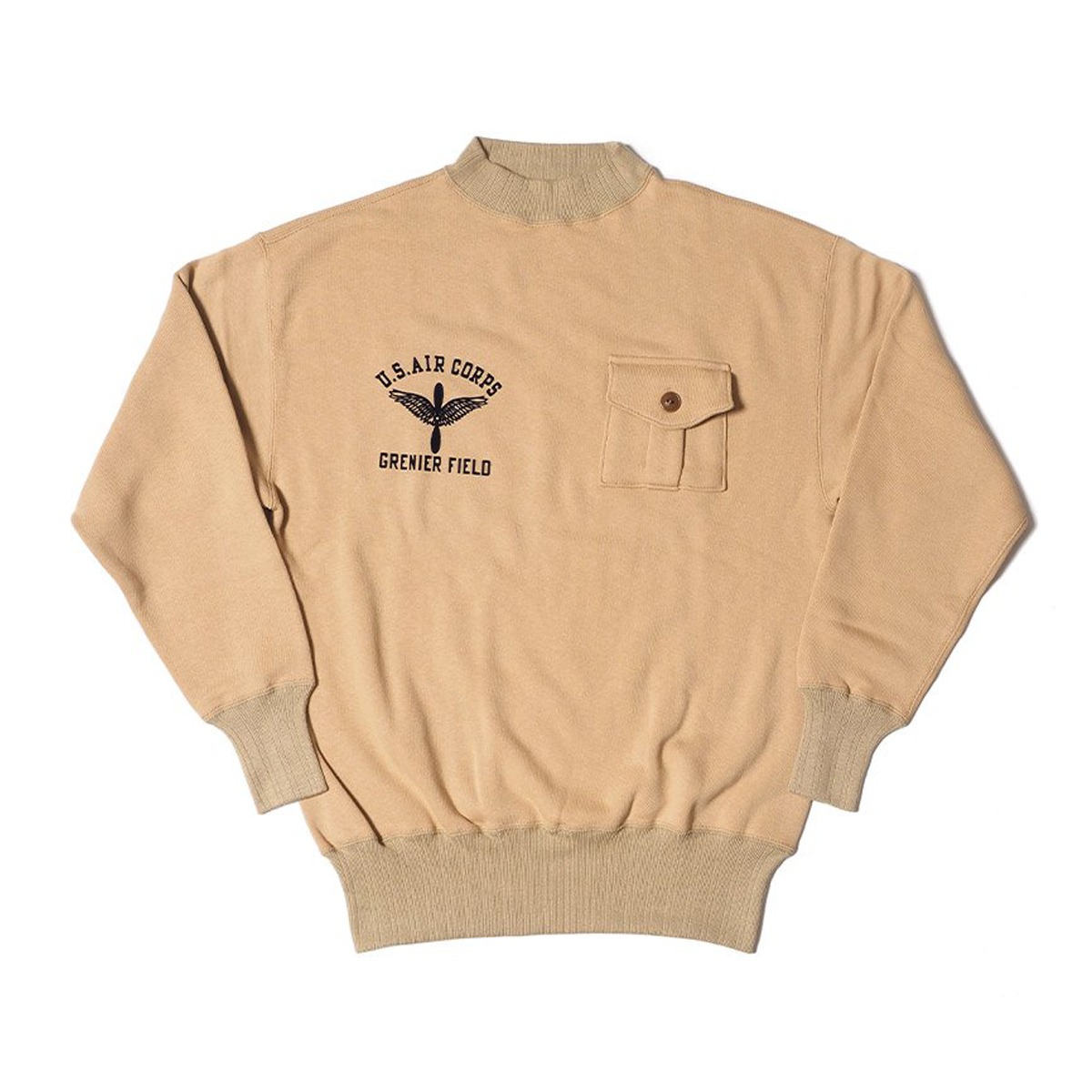 [WAREHOUSE] LOT 478 MILITARY SWEATSHIRT GRENIER FIELD 'BEIGE'