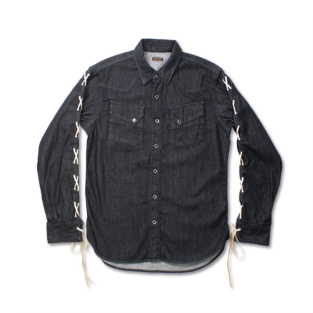 [KAPITAL] 8OZ BLACK DENIM LACE-UP WESTERN SHIRT M'S 'BLK'