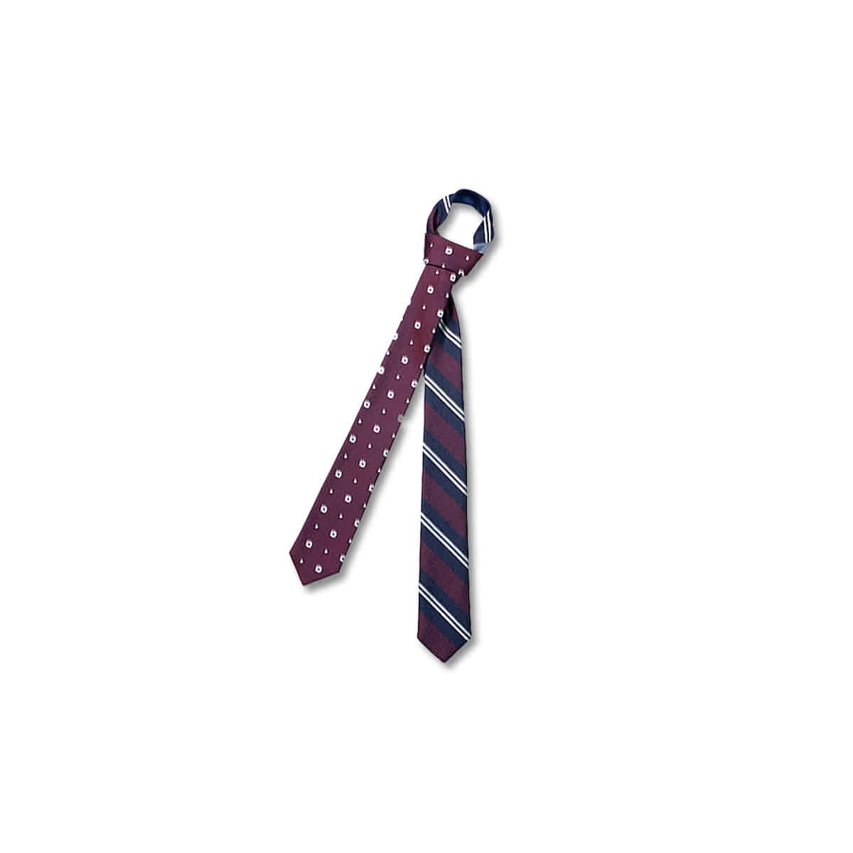[KENNETH FIELD] 4 FACE TIE 2REGIMENTAL x SMALL PRINT x SOLID 'BURGUNDY'