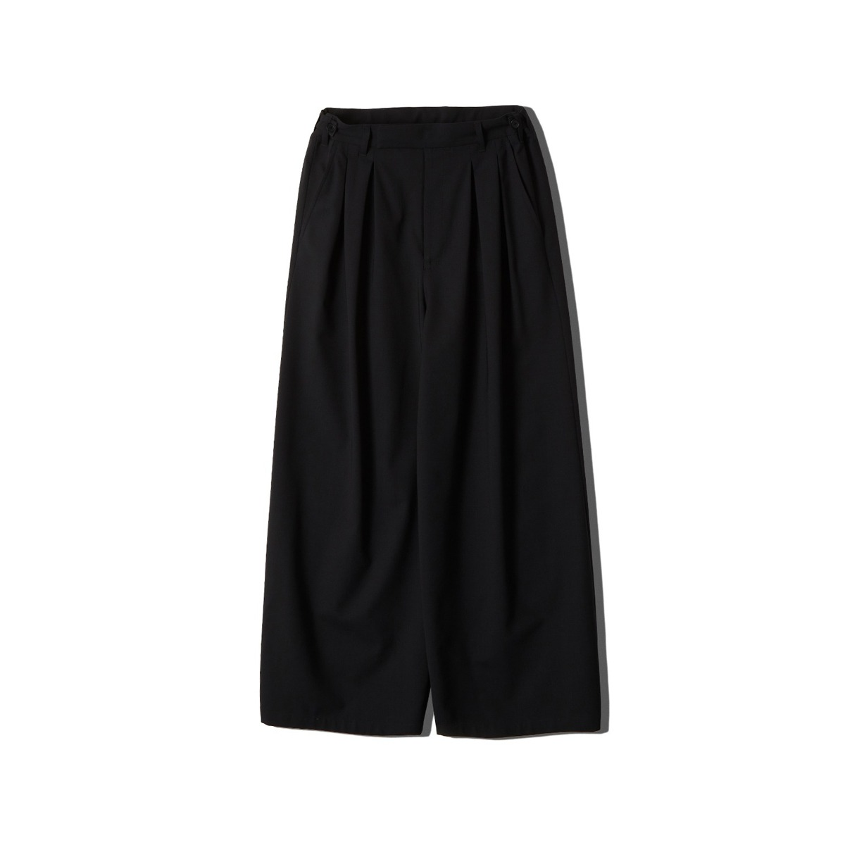 [NEITHERS] WOOL 2-TUCK WIDE PANTS 'NAVY'
