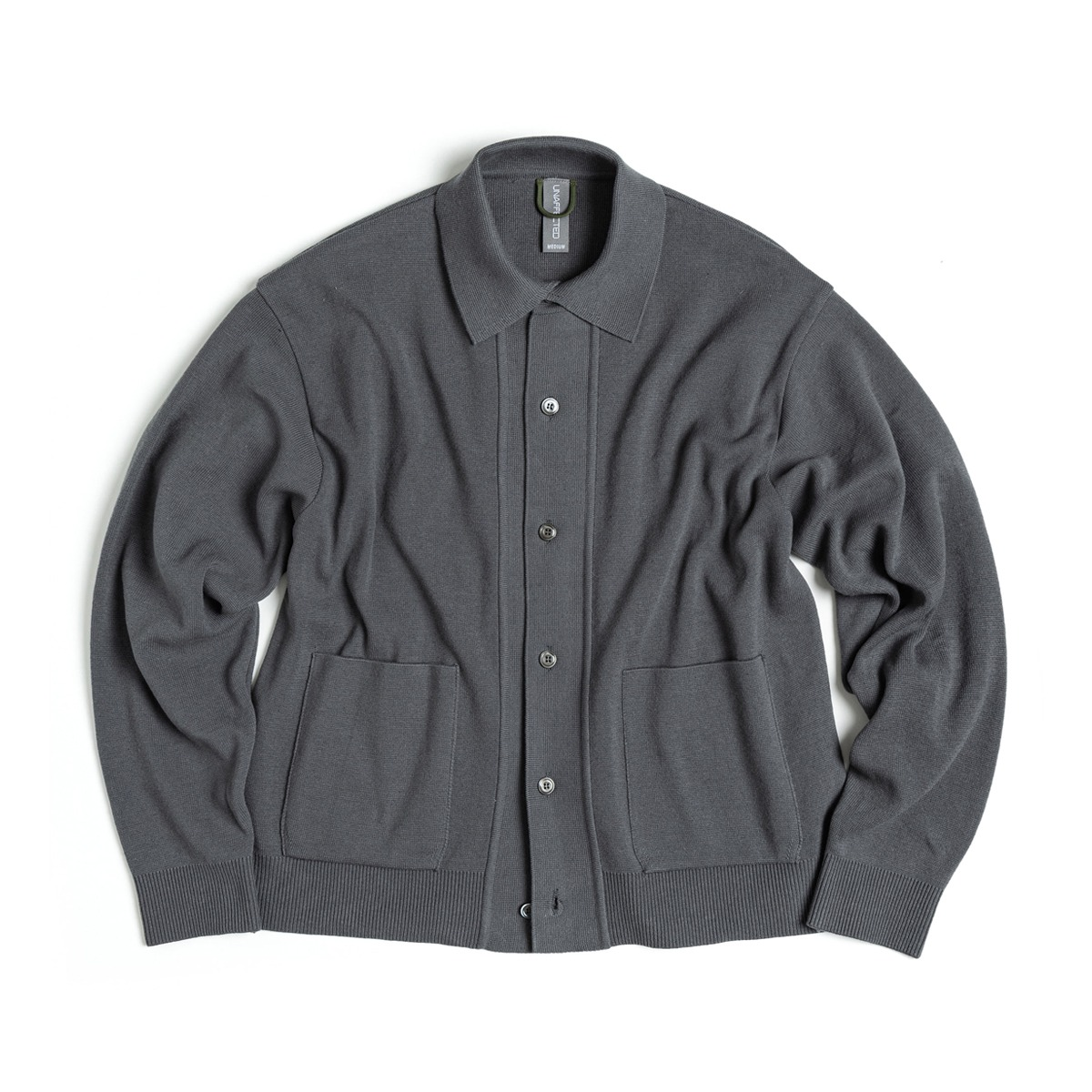 [UNAFFECTED] KNITTED SHIRT CARDIGAN 'CHARCOAL BLUE'