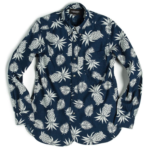 [EASTLOGUE] REGULAR HIDDEN BD SHIRT INDIGO PINEAPPLE