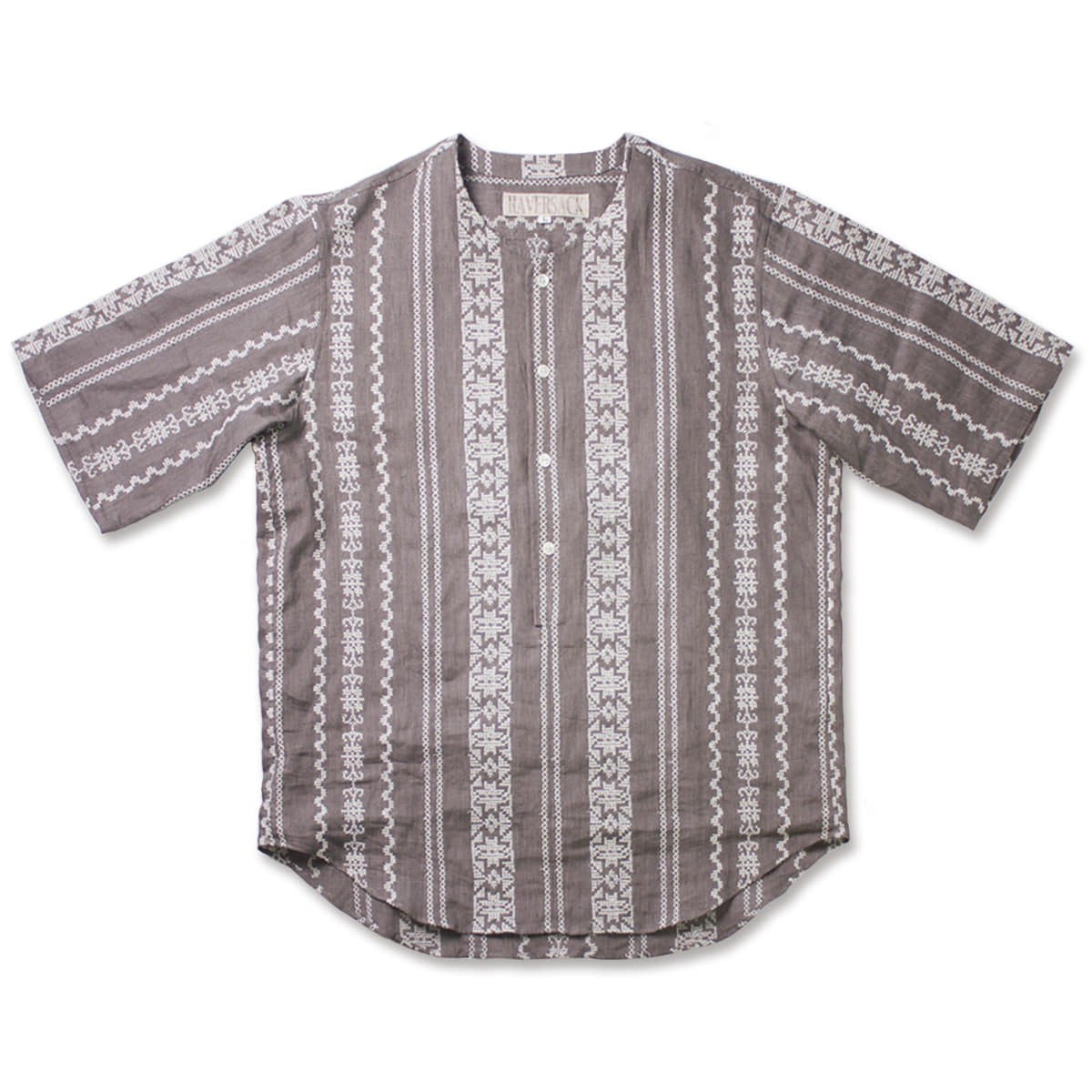 [HAVERSACK] LINEN EMBROIDERY SHIRT 'BROWN'