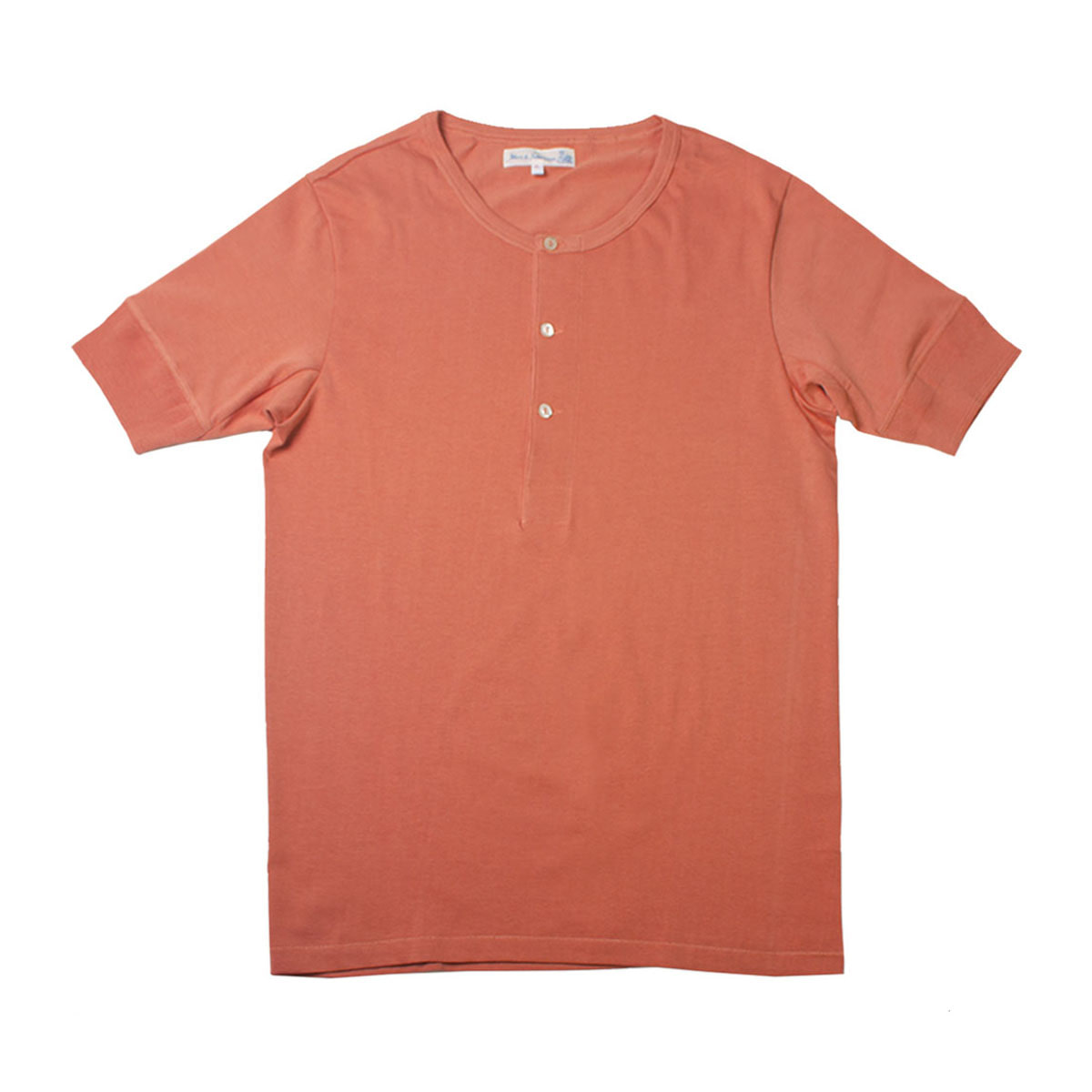 [Merz B. Schwanen] MEN'S 207 HENLEY SHORT SLEEVE 'LIGHT RUST'