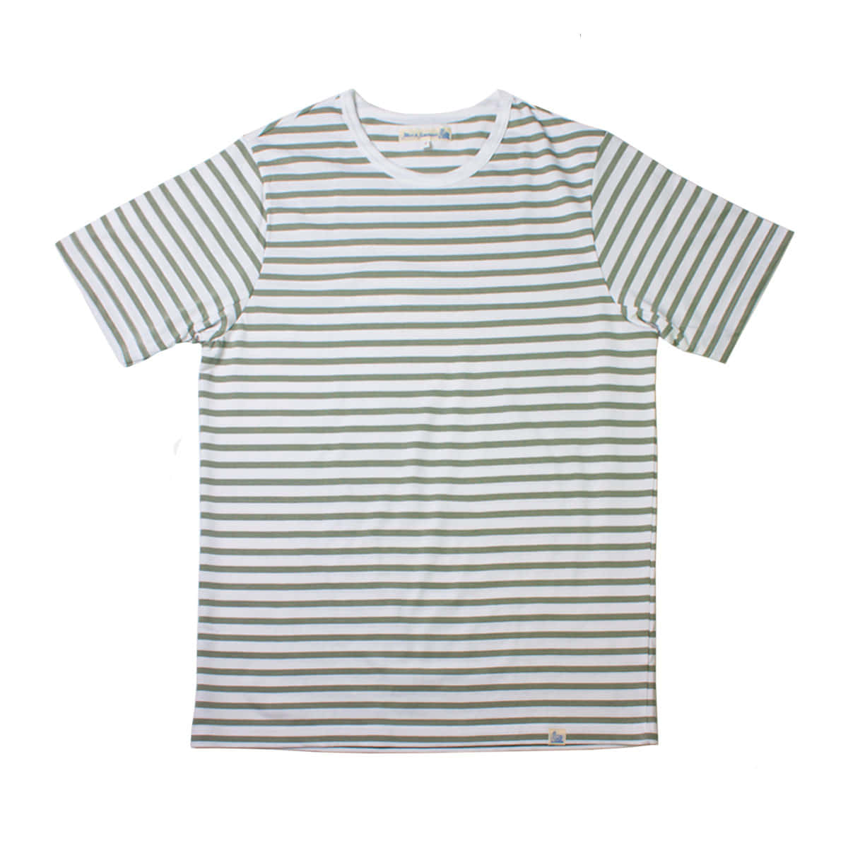 [Merz B. Schwanen] MEN'S 2M15 CLASSIC CREW NECK T-SHIRT 'WHITE-LIGHT ARMY'