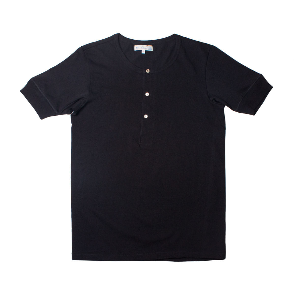 [Merz B. Schwanen] MEN'S 207 HENLEY SHORT SLEEVE 'BLACK'
