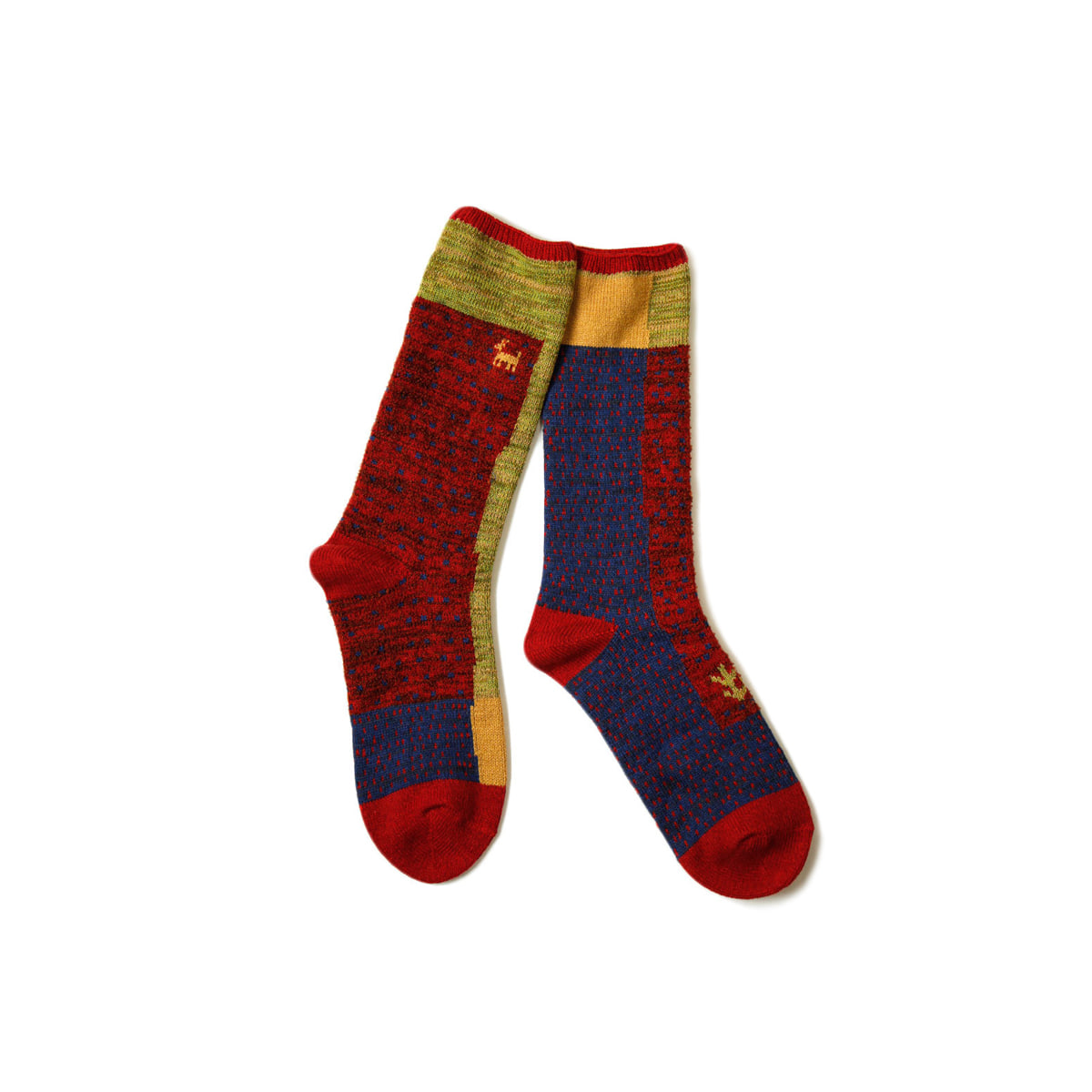[KAPITAL] 96 YARNS GABBEH PATCHWORK SOCKS 'RED'