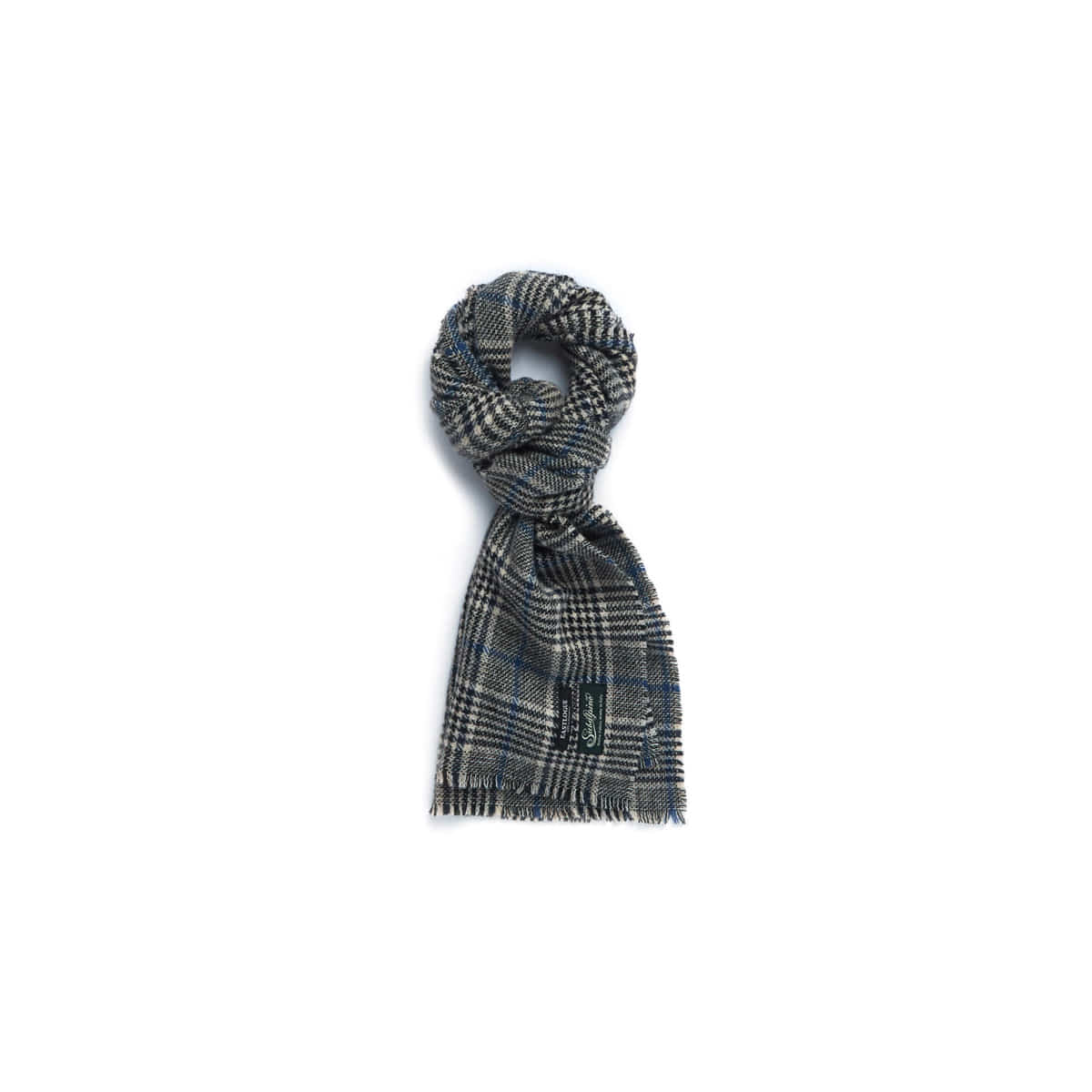 [EASTLOGUE] WOOL SCARF 'BEIGE/BLUE CHECK'