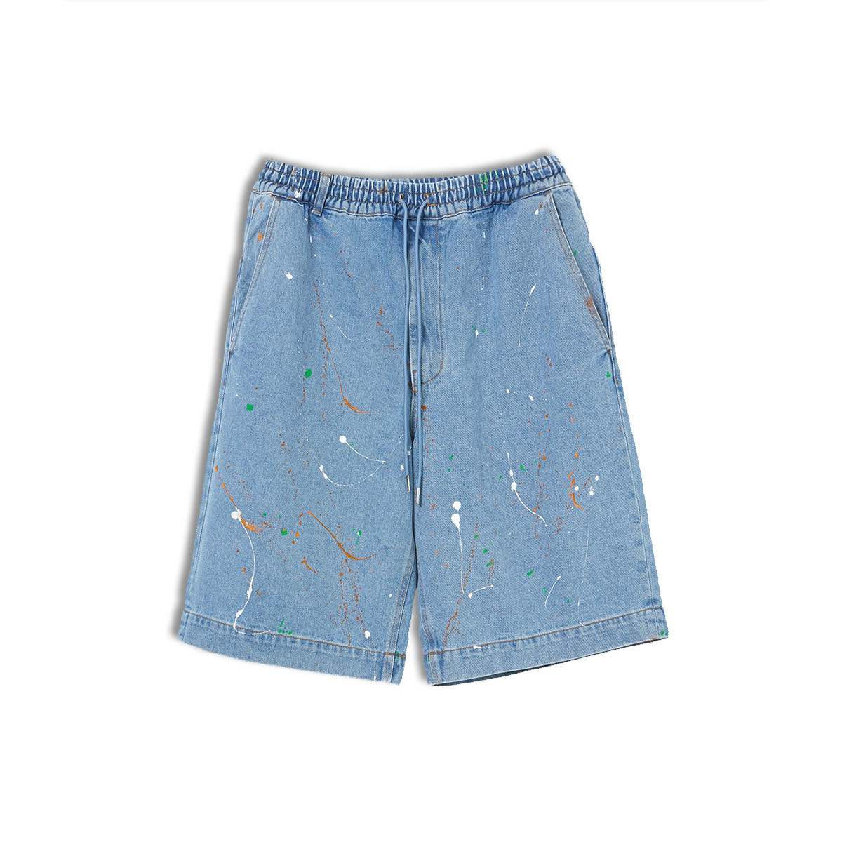 [ENIGMA] WIDE PAINTING DENIM SHORTS 'LIGHT BLUE'