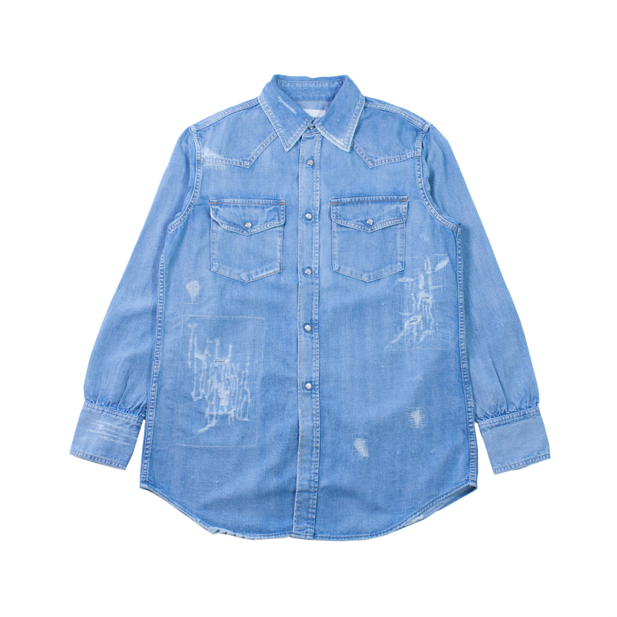 [CAL O LINE] USED DENIM WESTERN SHIRT 'USED BLUE'