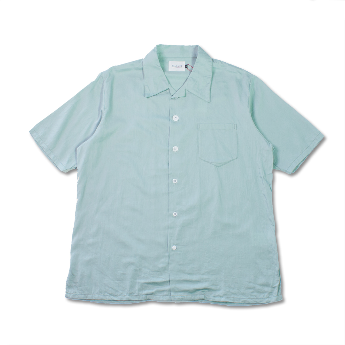[CAL O LINE] OPEN COLLAR S/S SHIRT 'GREEN'