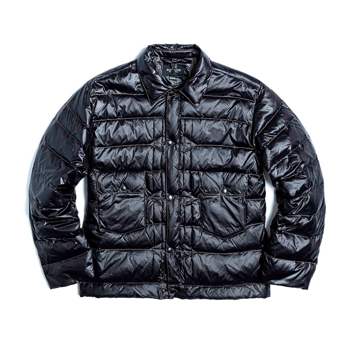 [EASTLOGUE] TRUCKER LIGHT DOWN JACKET 'BLACK NYLON'