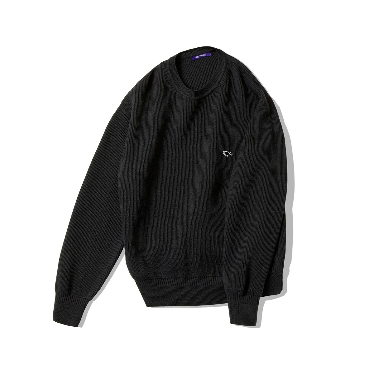 [NEITHERS] D5002-1 KNITTED SWEAT SHIRT 'CHARCOAL'