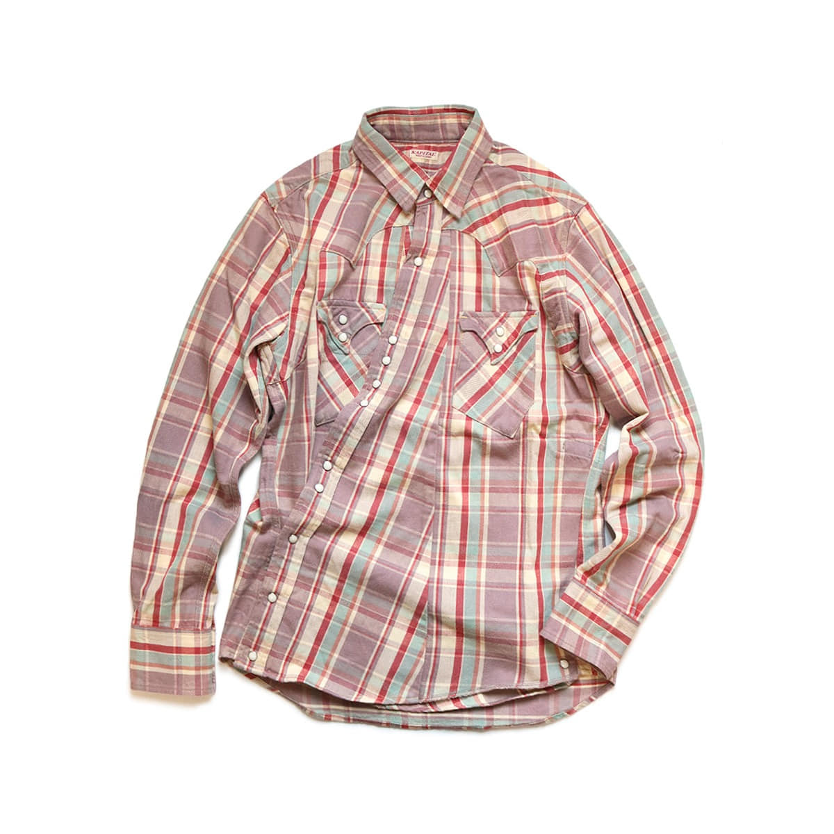 [KAPITAL] COTTON FLANNEL CHECK SUKIYAKI WESTERN SHIRT 'LIGHT PURPLE'