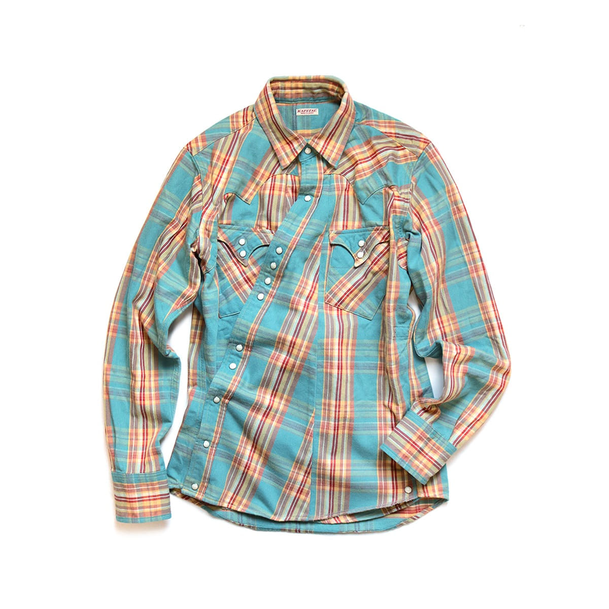 [KAPITAL] COTTON FLANNEL CHECK SUKIYAKI WESTERN SHIRT 'TURQUOISE'