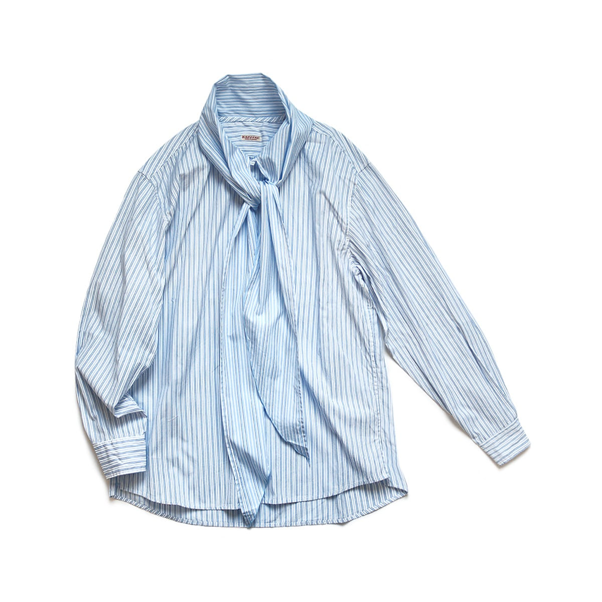 [KAPITAL] COTTON STRIPE BOWTIE PUBS SHIRT 'BLUE'