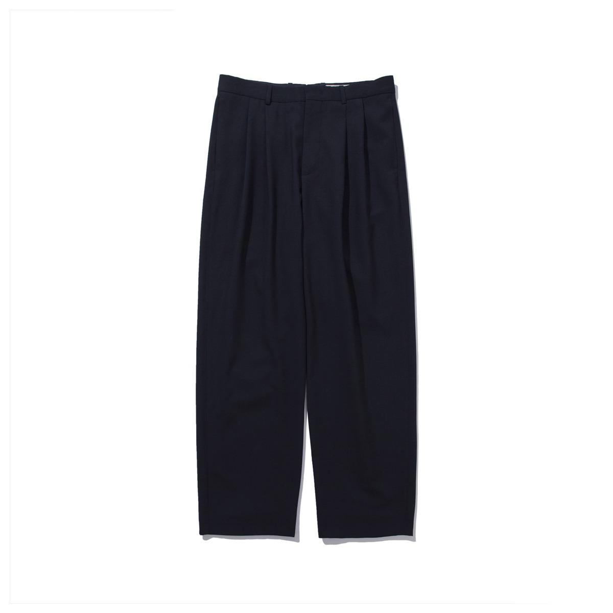 [POTTERY] WOOL TWO PLEATED WIDE PANTS 'DARK NAVY'