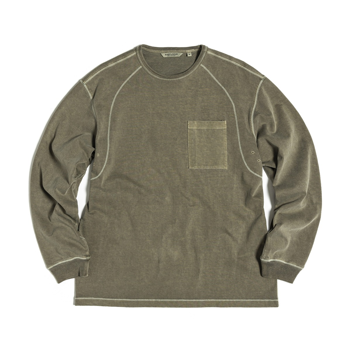 [EASTLOGUE] COVER STITCH T-SHIRT 'OLIVE'