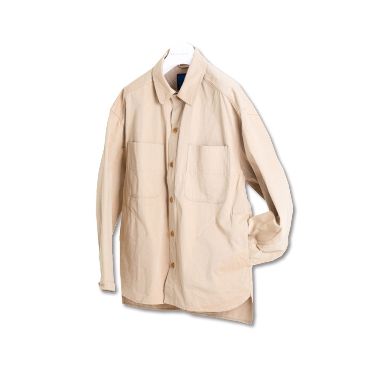 [DOCUMENT] CHAMBRAY COTTON SHIRTING JACKET 'BEIGE'