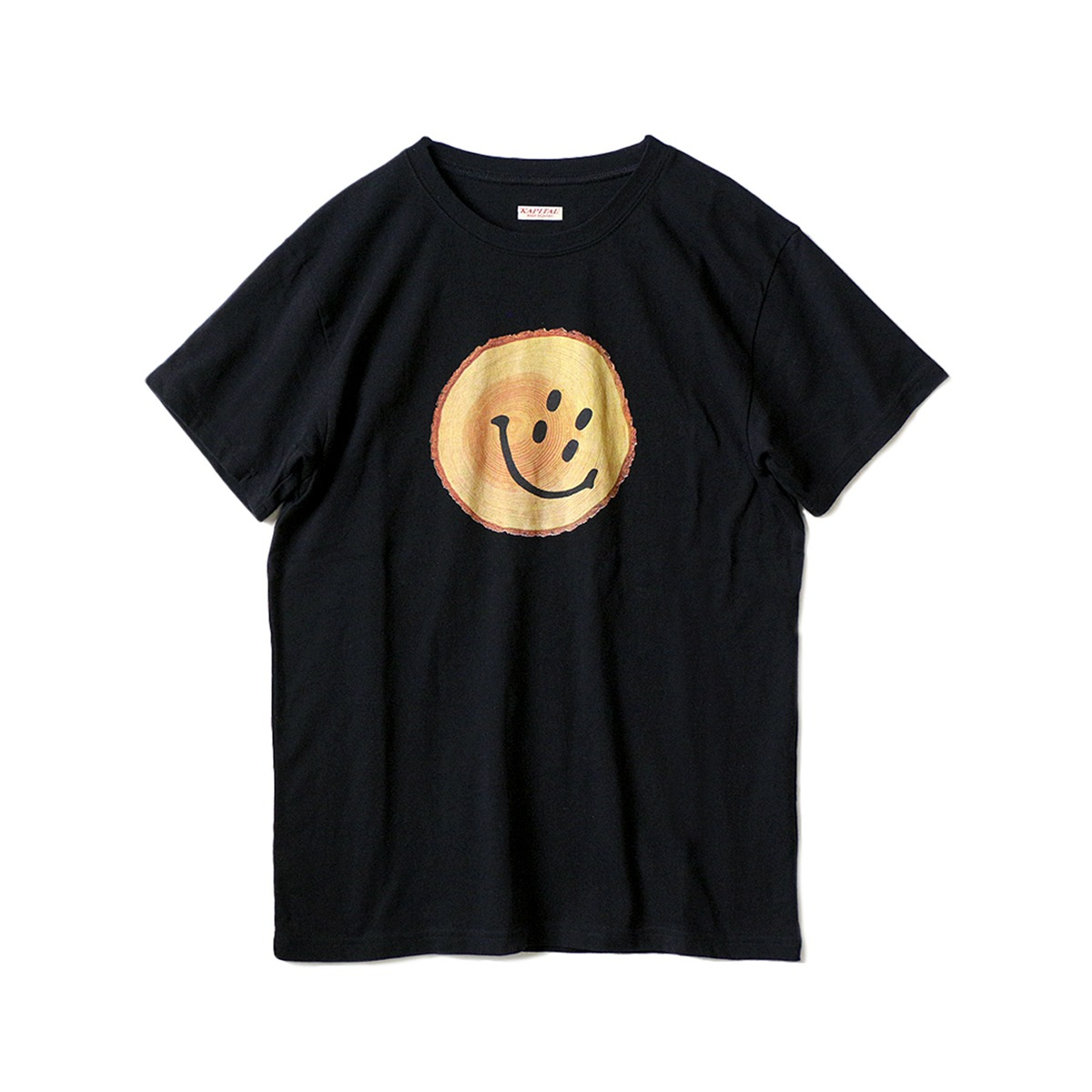 [KAPITAL] 20/-JERSEY CREW T (TRUNK RAIN SMILE) 'BLACK'