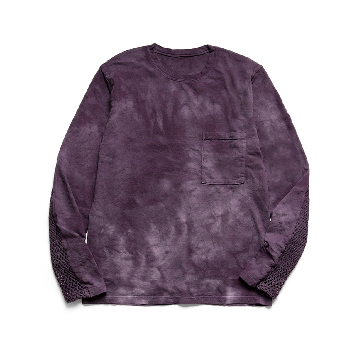 [KAPITAL] 20/-JERSEY KATABIRA LONG SLEEVE T (BACK SLEEVE) 'AUBERGINE'