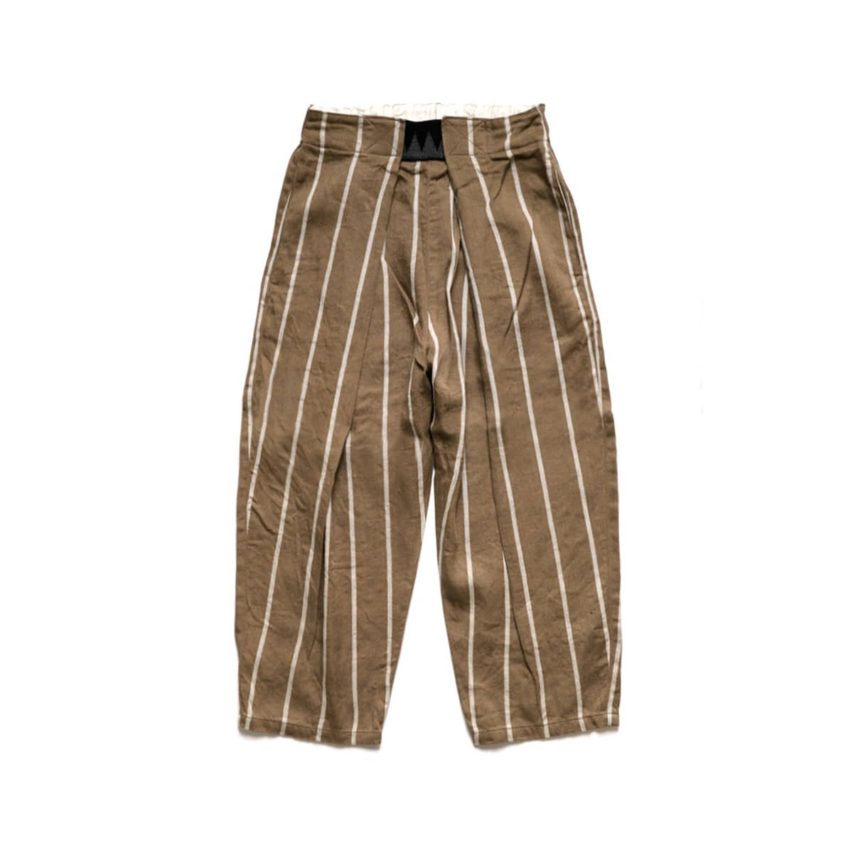 [KAPITAL] LINEN PHILLIES STRIPE EASY-BEACH-GO PANTS 'BROWN'