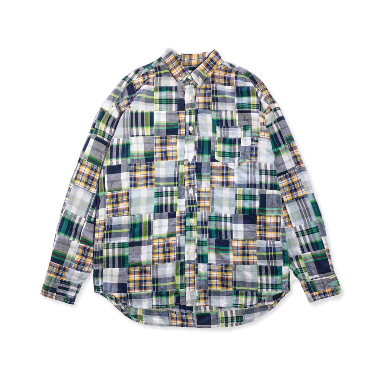 [CAL O LINE] MADRAS PATCH WORK BD SHIRT 'BLACK'