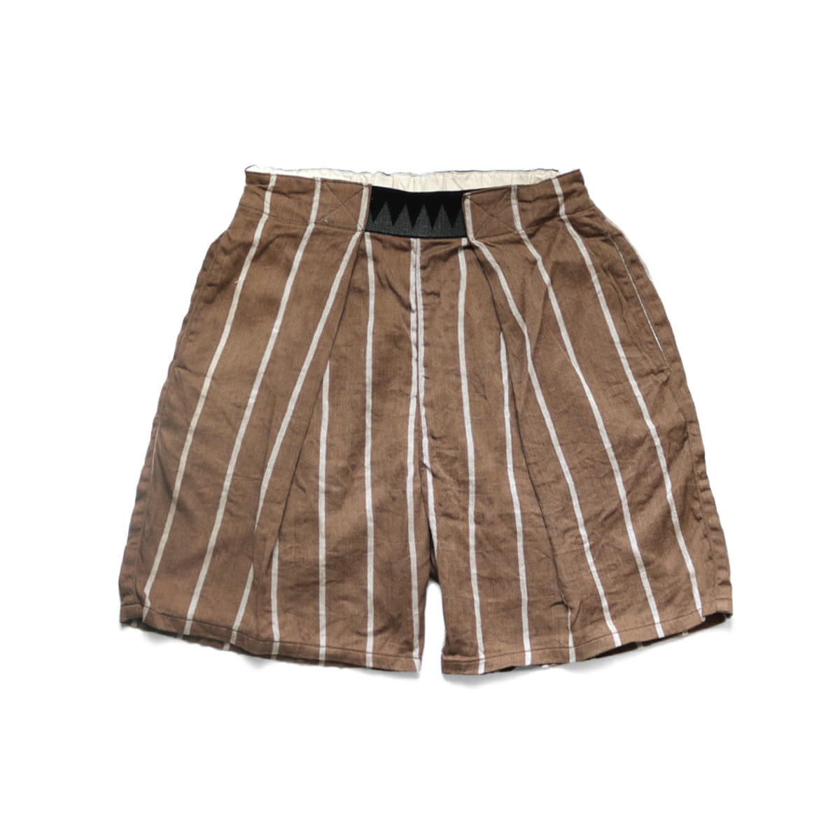 [KAPITAL] LINEN PHILLIES STRIPE EASY-BEACH-GO SHORTS 'BROWN'