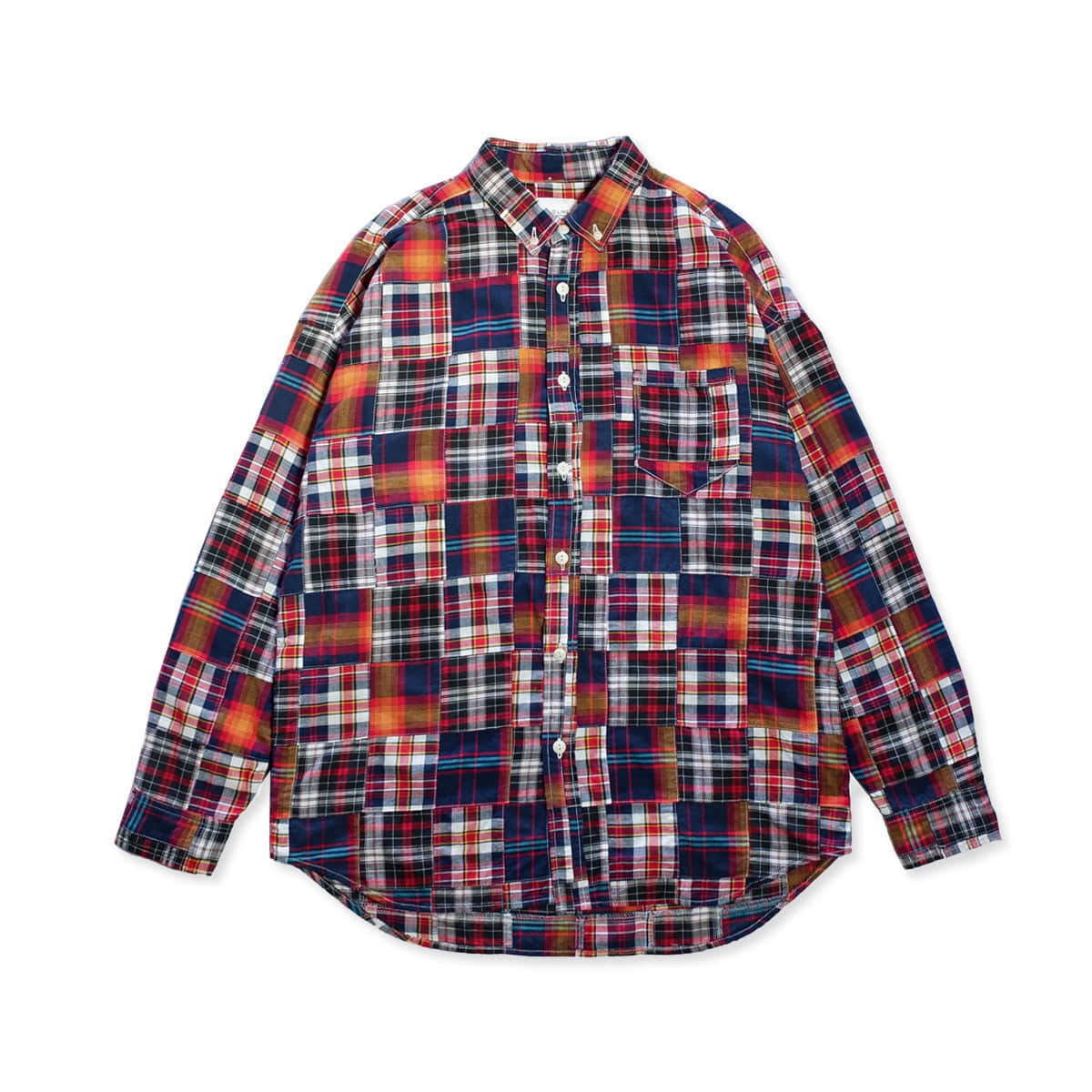 [CAL O LINE] MADRAS PATCH WORK BD SHIRT 'NAVY'