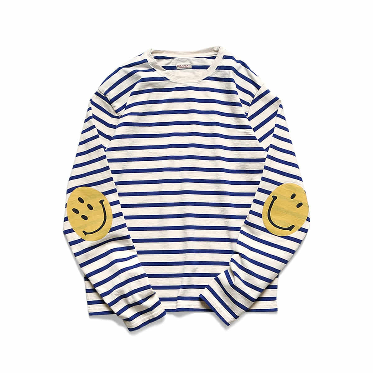 [KAPITAL] STRIPE JERSEY CREW LONG SLEEVE T (SMILIE PATCH) 'ECR x BLUE'