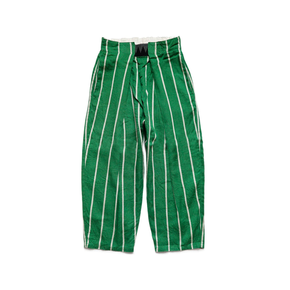 [KAPITAL] LINEN PHILLIES STRIPE EASY-BEACH-GO PANTS 'GREEN'