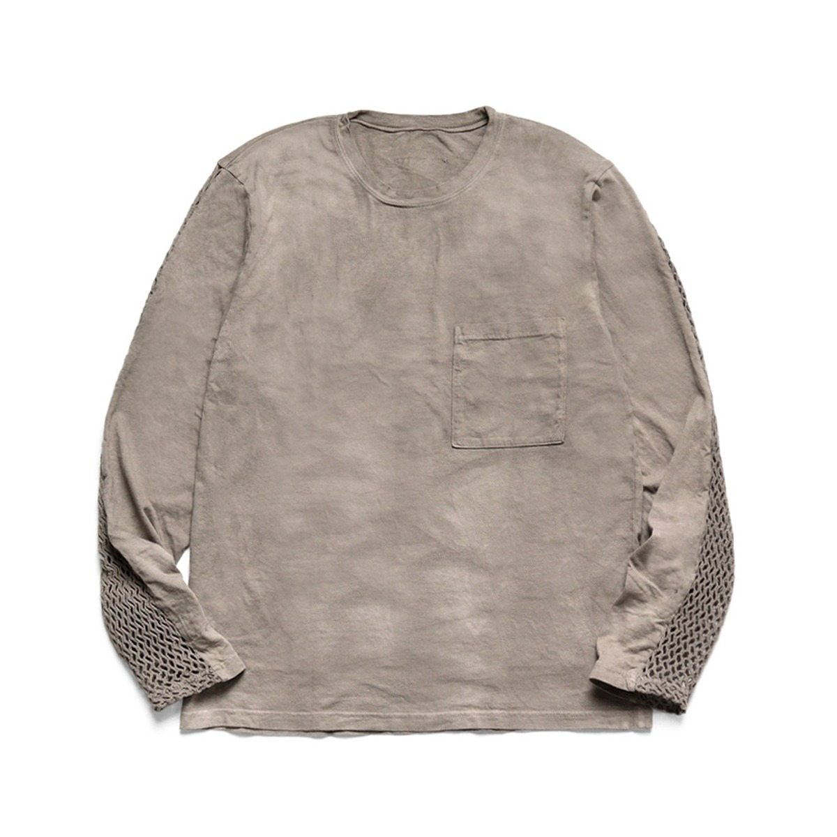 [KAPITAL] 20/-JERSEY KATABIRA LONG SLEEVE T (BACK SLEEVE) 'GRAY'