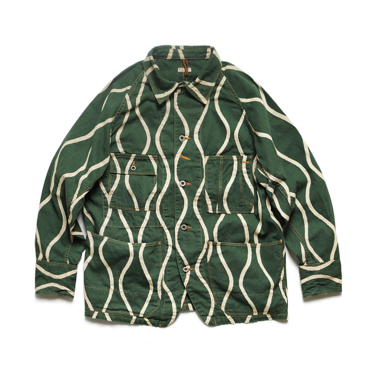 [KAPITAL] COTTON LINEN CANVAS DRUNK-STRIPE CACTUS COVERALL 'GREEN'